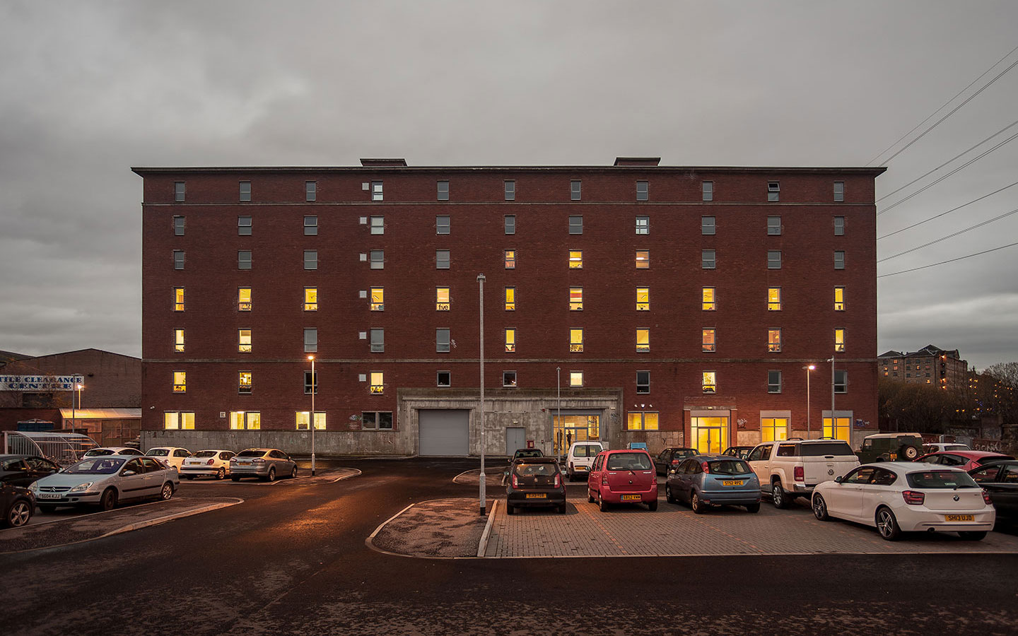 The-Whisky-Bond-view-from-car-park-at-dusk